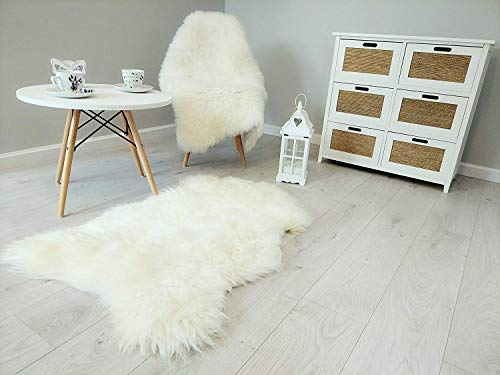 Amazinggirl Lammfell Teppich Schaffell echt - Fellteppich Schafsfell weiß Bettvorleger Fell für...