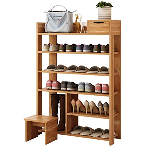 N/Z Home Equipment Shoe Rack 5 Tier Free Standing 41.7inches Wooden Shoe Storage Shelf Shoe Organizer Teak Black/29x9.3x42inches (Color : A)