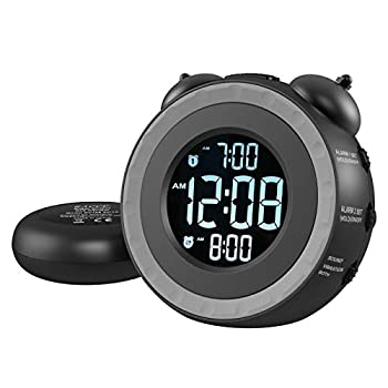 USCCE Loud Dual Alarm Clock with Bed Shaker - 0-100% Dimmer Vibrating Alarm Clock for Heavy Sleepers or Hearing Impaired Easy to Set USB Charging Port Snooze Battery Backup