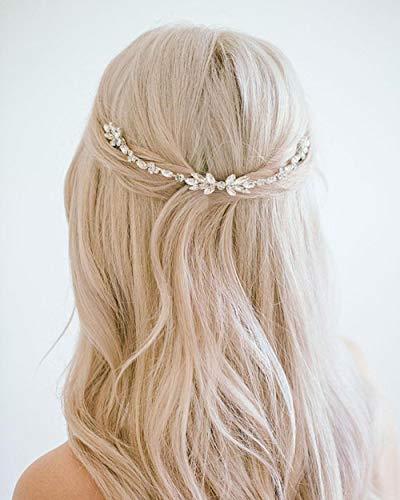 Simsly Braut Hochzeit Kristall Haar Reben Strass Kopfbedeckungen Braut Haar Accessoires für Frauen und Mädchen (Silber)