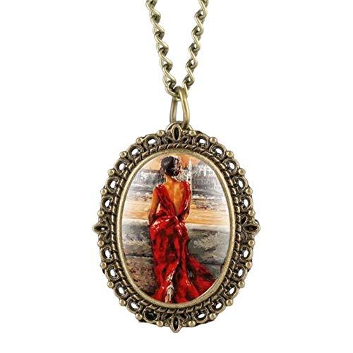ZMKW Reloj de Bolsillo pequeño con diseño de Mariposa y Flor Morada Retro para Mujer, Reloj Colgante, Regalo de cumpleaños para niñas, Elegante