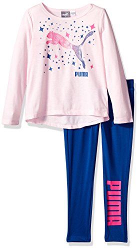PUMA Little Girls' Two Piece Top and Legging, Cherry Blossom, 5