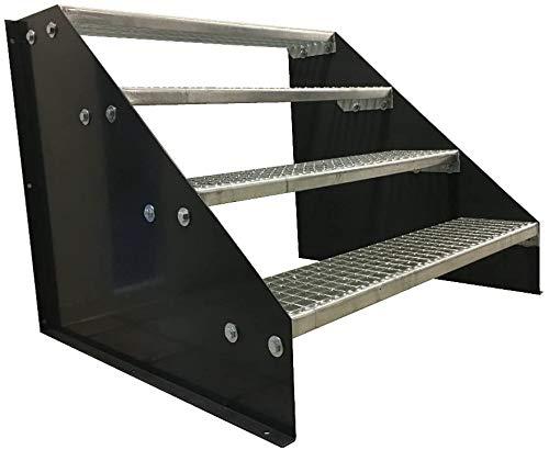 4 Stufen Standtreppe Stahltreppe freistehend Breite 100cm Höhe 84cm Anthrazitgrau/Robuste Außentreppe/Stabile Industrietreppe für den Außenbereich