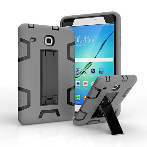 Ycxbox Samsung Galaxy Tab E 8.0' T377 Case, Galaxy Rugged Kickstand Stand Heavy Duty Kids Proof Protective Case for SM-T377A / SM-T377V / SM-T377P (Gray+Black)