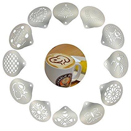Lofekea Barista Coffee Schablonen für Kaffee, Edelstahl, 12 Stück für Latte, Cappuccino, Keksschablonen Cupcake