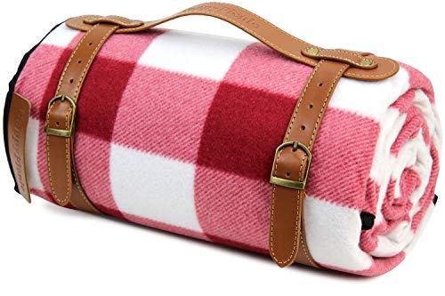 HappyPicnic Extra große Picknickdecke, 200 x 150 cm weicher Fleece-Teppich mit PU-Träger und wasserdichtem Rücken, Familien-Reisematte für den Außenbereich