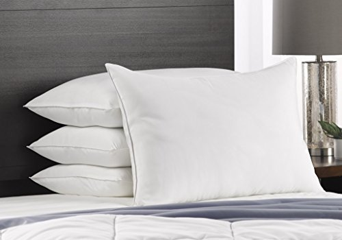 Exquisite Hotel Soft King Size Bed Pillows- 4 Pack White Hotel Pillows- Gel Fiber Filled Soft Gel Pillows with Hypoallergenic Classic Cover- Best Pillow for Stomach Sleepers