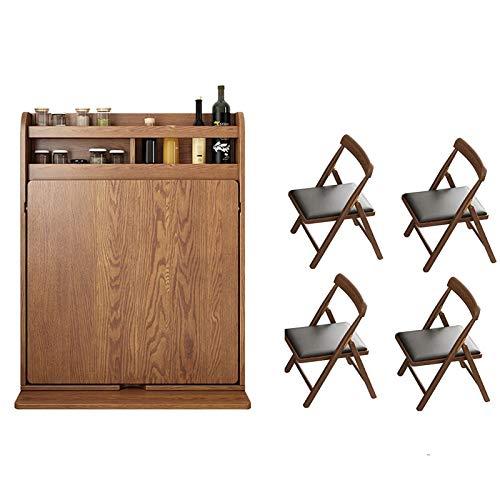 LIUTIAN Abatibles mesa con 4 sillas, plegable Cocina Comedor escritorio de la tabla de madera maciza de la tabla del hogar del escritorio de oficina escritorio de trabajo con ordenador Estante de alma