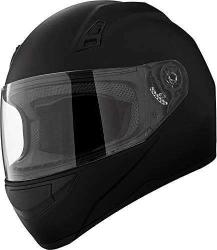 GDM DK-140 Full Face Motorcycle Helmet Matte Black (X-Large, Clear and Tinted Shields)