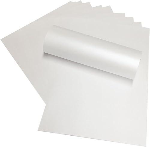 A4 blanc nacré Papier 120 g/m² Compatible avec imprimantes jet d'encre, Laser et Lot de 50)
