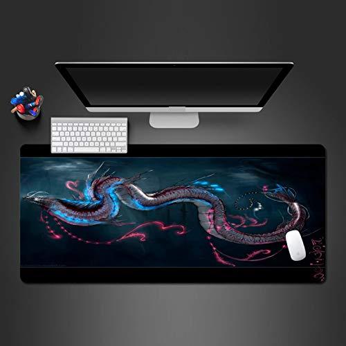 LZDAYK Gaming-Mauspad 900x400x3mm Animierter Drache Übergroße Spieltischmatte aus rutschfestem Gummi mit Nahtkanten-Mauspad