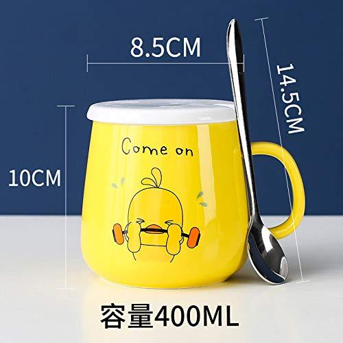 Heliansheng Dibujos Animados creativos Taza de cerámica Taza de Agua Taza del hogar Taza de café Cuchara con Tapa -C124-A12