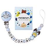 Schnullerkette mit Namen Junge Schnuller Clip Personalisierte Silikon Perlen Beißring Zahnen BPA Frei für Babys Fuchs (Blau)