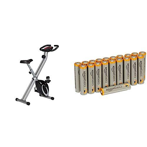 Ultrasport F-Bike, Fahrradtrainer, Heimtrainer, faltbares Fitnessfahrrad mit Trainingscomputer und Handpulssensoren, klappbar, Schwarz mit Amazon Basics Batterien