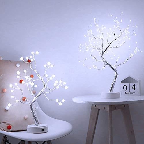 Donpow Lámpara de árbol de cadena de cobre estrellado, lámpara de cabecera de árbol de alambre de cobre, 36 luces LED para decoración del hogar (blanco cálido)