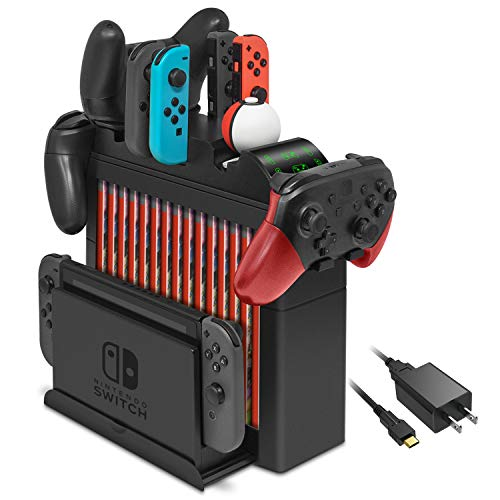 Charging Dock for Nintendo Switch Joy-Cons, Pro Controller and Poke Ball Plus Controller, Multifunctional Storage Rack Stand Kit for Nintendo Switch and Switch Accessories