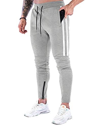 Suwangi Pantalones Deportivos Running para Hombre Jogger Gimnasio Fitness Entrenamiento Pantalon Largos Chándal Bolsillo Cremallera