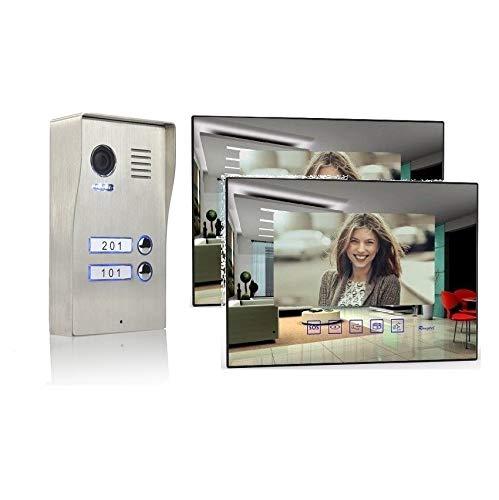 2 Familienhaus Video Türsprechanlage 7'' Monitor Edelstahl Aufputz, Farbe: Ohne, Größe: 2x7'' Monitor Spiegel ohne WLAN Außenstation aufpu