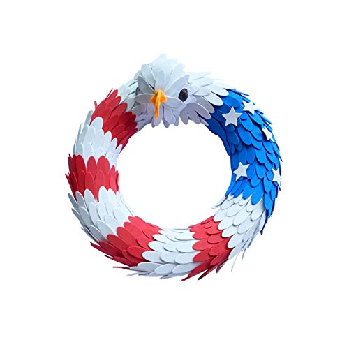 sympuk Amerikanischer Adlerkranz Mit Adlerkopf, Amerikanischer Patriotischer Kranz, Flaggenkranz Für Zuhause, Haustürdekoration - Handgefertigt - Haustürhauswand, In Einem Panoramafenster