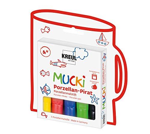 Kreul 27157 - MUCKI Porzellan Pirat, 5 Porzellanmalstifte für Kinder in gelb, rot, blau, grün und schwarz, Strichstärke 2 - 5 mm, für individuelle Kunstwerke auf Tassen und Tellern