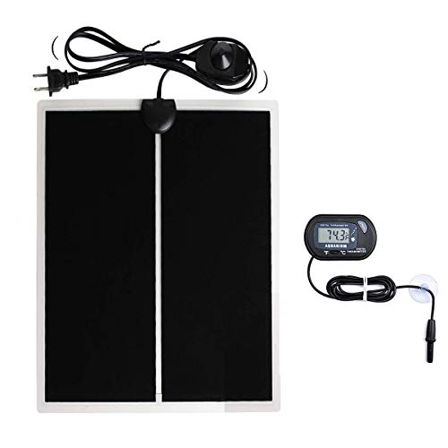 MQ Reptile Terrarium Heat Pad with LCD Digital Thermometer, 11 x 16.5in Power Adjustment Under Tank Heater Mat for Pets, Small Animals, Seedling, 20W
