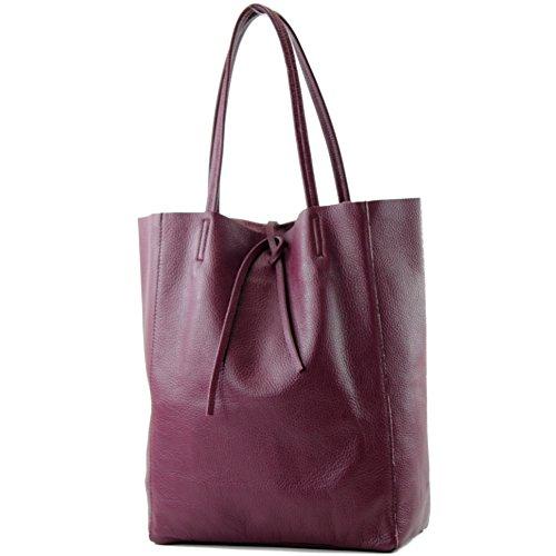 modamoda de - T163 - Ital. Shopper mit Innentasche aus Leder, Farbe:Bordeauxviolett