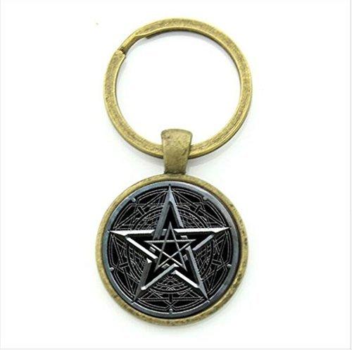 Pentagramm-Schmuck, Wicca-Schlüsselanhänger, Hexen-Schlüsselanhänger, Okkult-Zubehör, magischer Talisman, heidnisches Amulett, Hexen-Schmuck