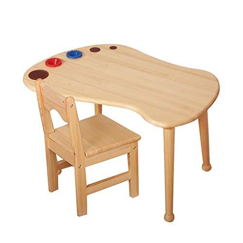 ZY Children's study table and chair Juego de Mesa y Silla para niños, Escritorio de Aprendizaje de Aprendizaje de Madera Maciza para el hogar, para el Dormitorio Infantil, Sala de Juegos, Sala