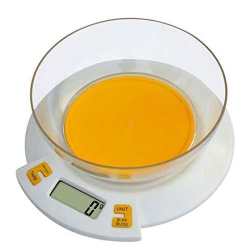 Básculas de cocina Báscula de Cocina Electrónicas, Balanzas para Alimentos, Función Tara, Pantalla LCD Apagado Automático con Cuenco Removible (Color : Orange, Size : 5kg/1g)