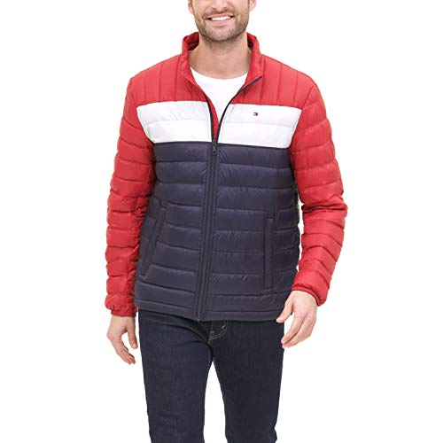 Tommy Hilfiger Men's Lightweight Water Resistant Packable Down Puffer Jacket (Standard and Big & Tall), red/White/Midnight, Medium