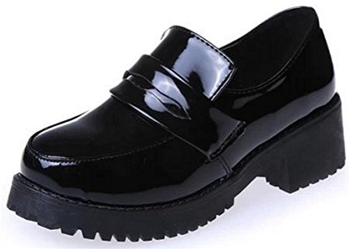 ACE SHOCK Women's Girl's Lolita Low Top Japanese Students Maid Uniform Dress Shoes (6.5) Black