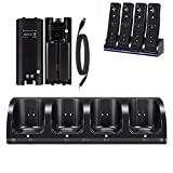 Wii Charger Dock for Wii/Wii U Remote Controller, 4 Port Charger Station with 4 Batteries Pack USB Charging Cable LED Indicator -Black