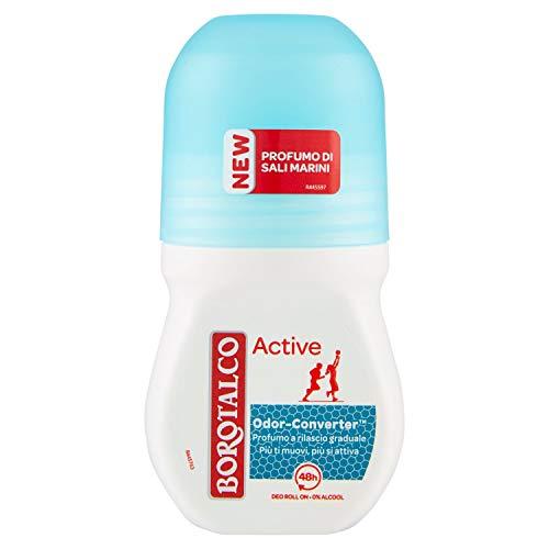 Borotalco, Deodorante Roll-On Active Blu, Assorbe il Sudore, Senza Alcool, Pelle Morbida e Idratata, Profumo di Sali Marini, Deodorante Uomo e Donna - Flacone da 50 ml