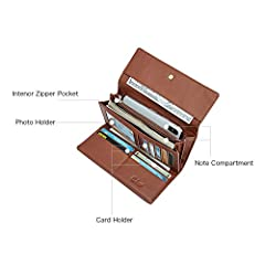 Wallets for Women Leather Ladies Purse Trifold Clutch Long Credit Card Holders Organizer Brown #3