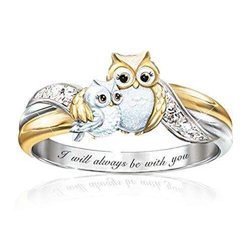 HHIAK666 Cartoon-Eulenringe, zweifarbiger Tierring, Ehemann- und Ehefrau-Ring, Damenaccessoires, begleitender Familien-Damenring 16.5mm