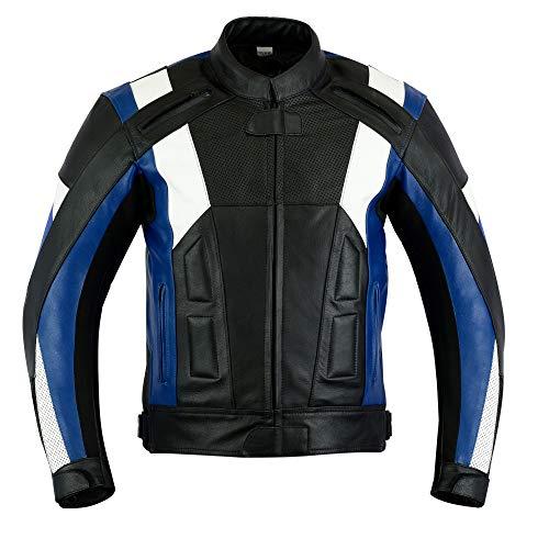 Texpeed - Herren Motorradjacke mit Protektoren - Leder - Blau & Weiß - XL - 111.76cm