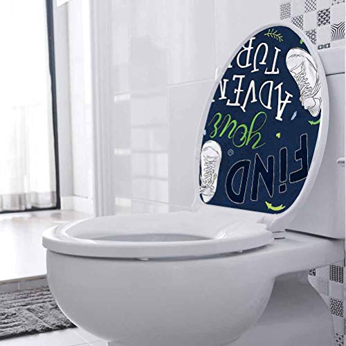 Toilet Seat Stickers Decals Adventure, Forest Sneakers Youth Removable Waterproof Toilet Seat Wall Stickers 3D Toilet Funny Bathroom Seat Decor 12 x 14 Inch