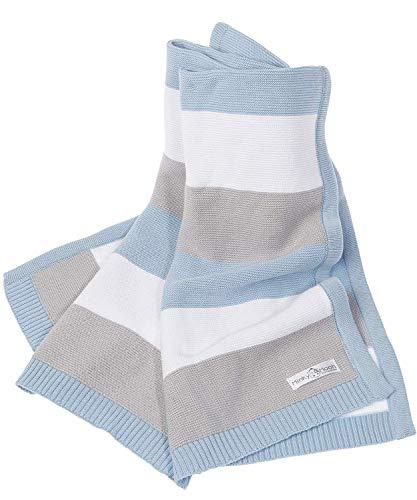 Babydecke aus 100{6ca3d7202c88e59b559d6e37b8a976935954e502998184480610635729dbae00} Bio Baumwolle - kuschelige Strickdecke ideal als Baby Decke, Erstlingsdecke, Wolldecke oder Baby Kuscheldecke in blau/grau/weiß für Jungen -inkl. Online Geburtsvorbereitungskurs
