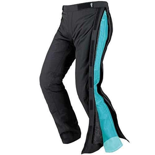 JET Pantalones de moto motocicleta textiles impermeable con armadura Zipper (48 Corto/Cintura 32 Longitud 30(M), Negro)