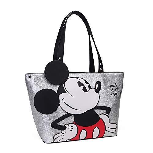 Disney, Mad About Mickey - Bolso Grande, Color Plateado, Resistente y Duradero, Dim 41 x 25 x 14 cm