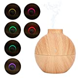 Diffusore di aromi 130 ml USB LED Mini diffusore di oli essenziali di aromi Umidificatore d'aria da scrivania da ufficio Umidificatore a nebbia fredda Modalità sospensione(Grano di legno chiaro)