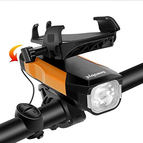 SEWOBYE Luz Bicicleta USB Recargable, 550 Lúmenes Luces Bicicleta con Alarma y Soporte Teléfono, Luz LED Bicicleta para MTB, Bicicleta Carretera (Orange)