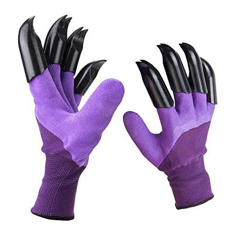 Garden Genie Gloves with Claws, Purple Waterproof Garden Gloves For Digging Planting, Best Gardening...
