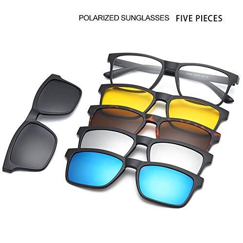 #N/V Montura de gafas de miopía para hombres y mujeres con espejo plano de doble uso magnético, juegos de lentes de sol polarizados multifunción