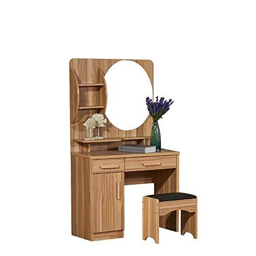 Table de Maquillage avec Miroir Coiffeuse Chambre CompactSet Vanity avec Tabouret (Couleur : Wood Color, Taille : 80 * 40 * 155cm)
