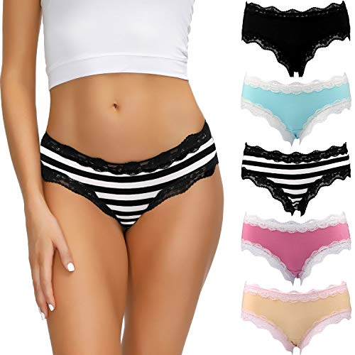 LYYTHAVON Women's Underwear Soft Breathable Cotton Brief Ladies Panties 5-Pack (Multicolored B,5 Pack, Small)