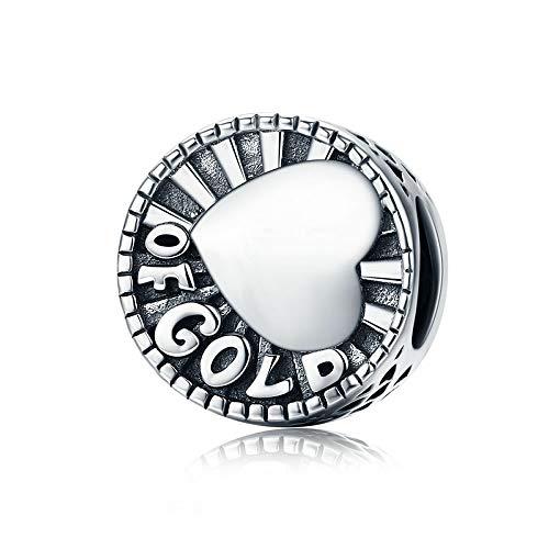 Hart van goud Nieuwe Aankomst Echte 925 Sterling Zilver Goud Hart Graveren Ronde Kralen passen Armbanden & Ketting DIY Sieraden Maken