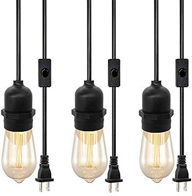 Vintage Plug in Hanging Light Kit, Industrial Style Pendant Lighting E26 Lamp Socket, On/Off Switch Plug-in Pendant Light Cord, Weatherproof Pendant Light Cord Outdoor (3-Pack)