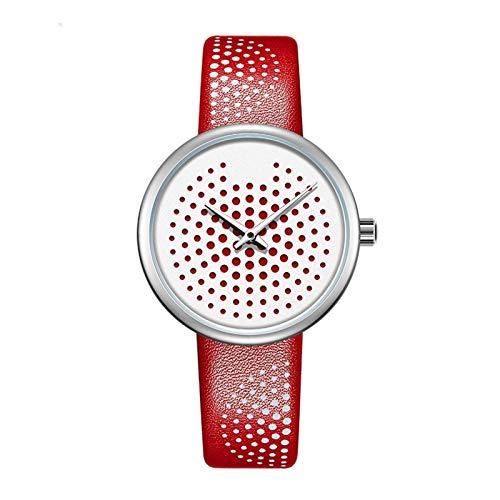 Relojes de mujer, mujer de la moda reloj de pulsera de cuarzo con patrón de punto y cuero de la PU, elegantes relojes de las mujeres regalos de reloj de pulsera de negocios Para ella ( Color : Red )