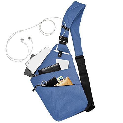 Sling Bag Chest Backpack Casual Daypack Blue Shoulder Crossbody - blue - S